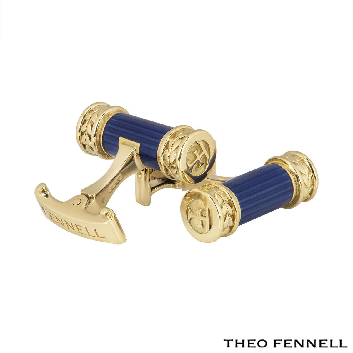 Theo Fennell Yellow Gold Blue Enamel Cufflinks